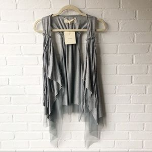 Anthro a'reve Gray Duster Vest NWT L